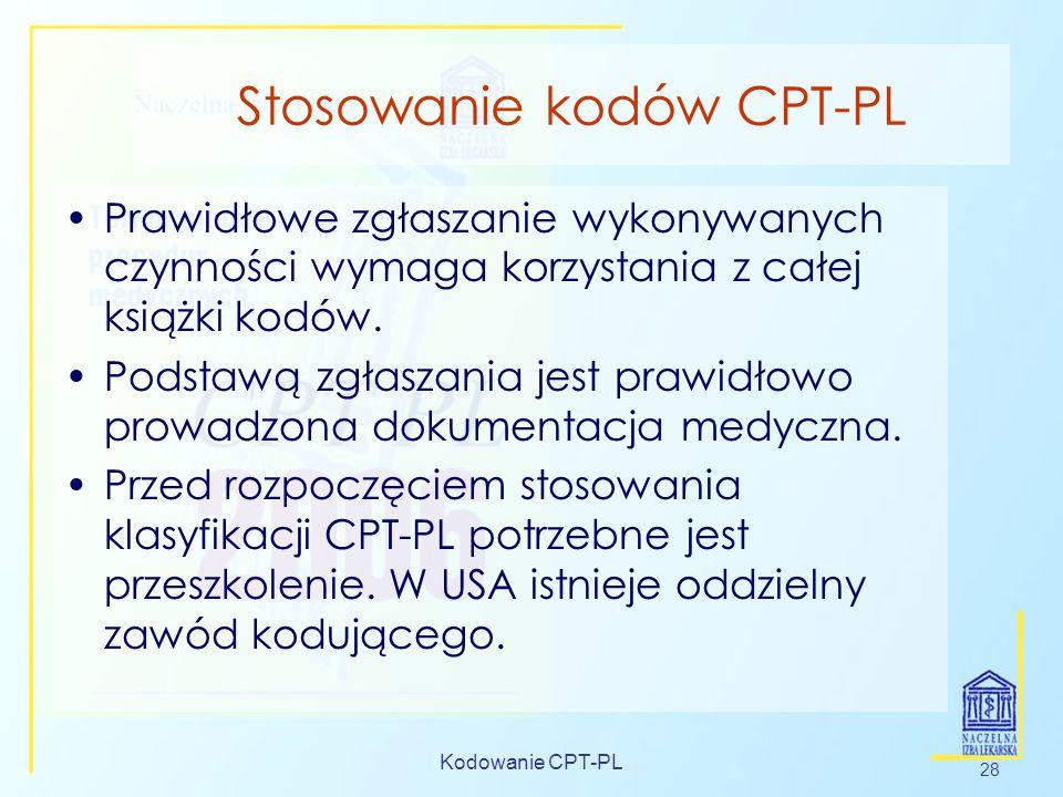 Kodowanie CPT-PL 28 Stosowanie kodów CPT-PL Prawidłowe zgłaszanie wykonywanych czynności wymaga korzystania z całej książki kodów. Podstawą zgłaszania