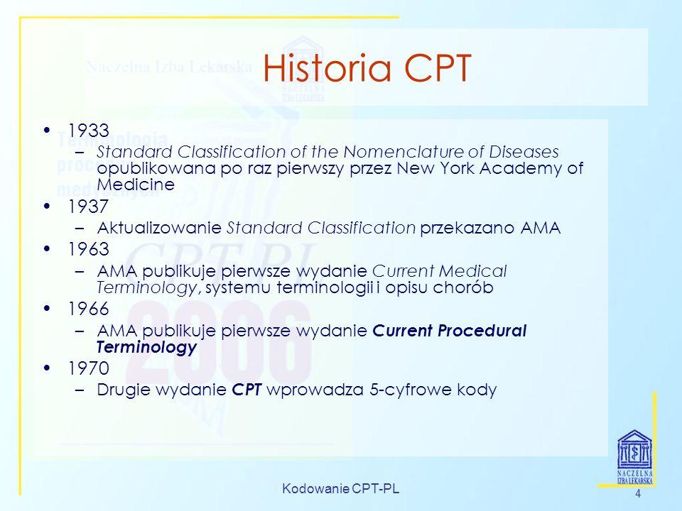 Kodowanie CPT-PL 4 Historia CPT 1933 –Standard Classification of the Nomenclature of Diseases opublikowana po raz pierwszy przez New York Academy of M