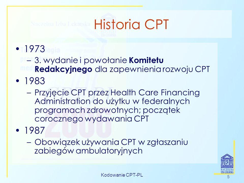 Kodowanie CPT-PL 5 Historia CPT 1973 –3. wydanie i powołanie Komitetu Redakcyjnego dla zapewnienia rozwoju CPT 1983 –Przyjęcie CPT przez Health Care F