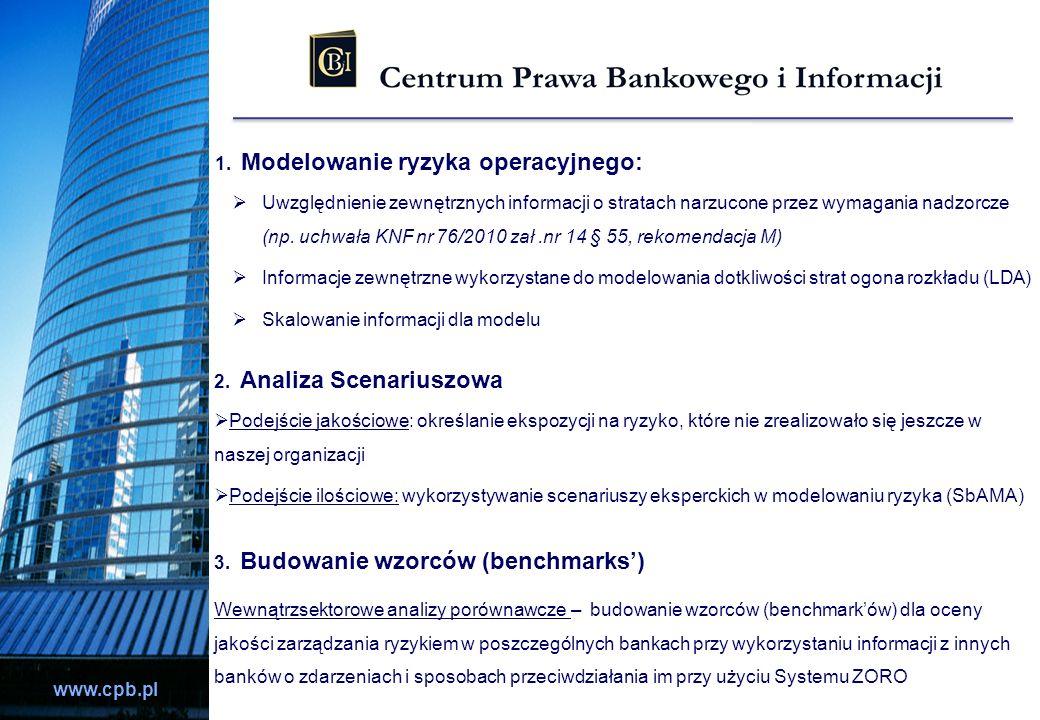 www.cpb.pl 1. Modelowanie ryzyka operacyjnego: Uwzględnienie zewnętrznych informacji o stratach narzucone przez wymagania nadzorcze (np. uchwała KNF n