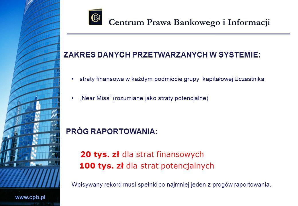 www.cpb.pl ZAKRES DANYCH PRZETWARZANYCH W SYSTEMIE: straty finansowe w każdym podmiocie grupy kapitałowej Uczestnika Near Miss (rozumiane jako straty