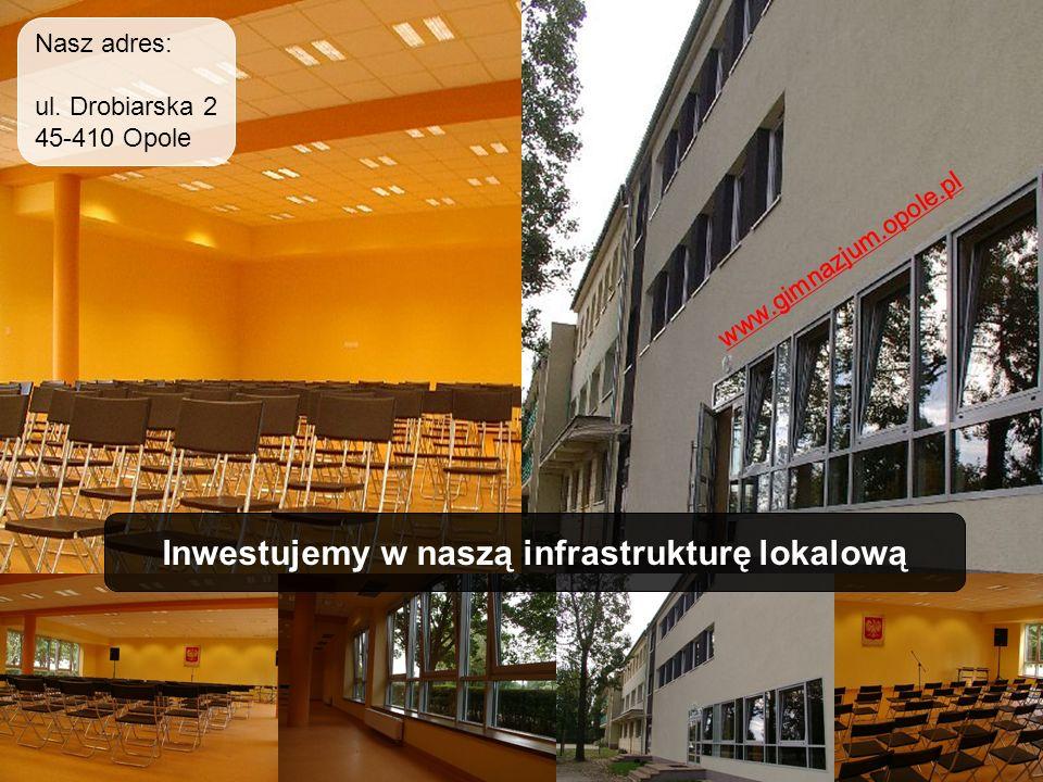 Inwestujemy w naszą infrastrukturę lokalową www.gimnazjum.opole.pl Nasz adres: ul. Drobiarska 2 45-410 Opole
