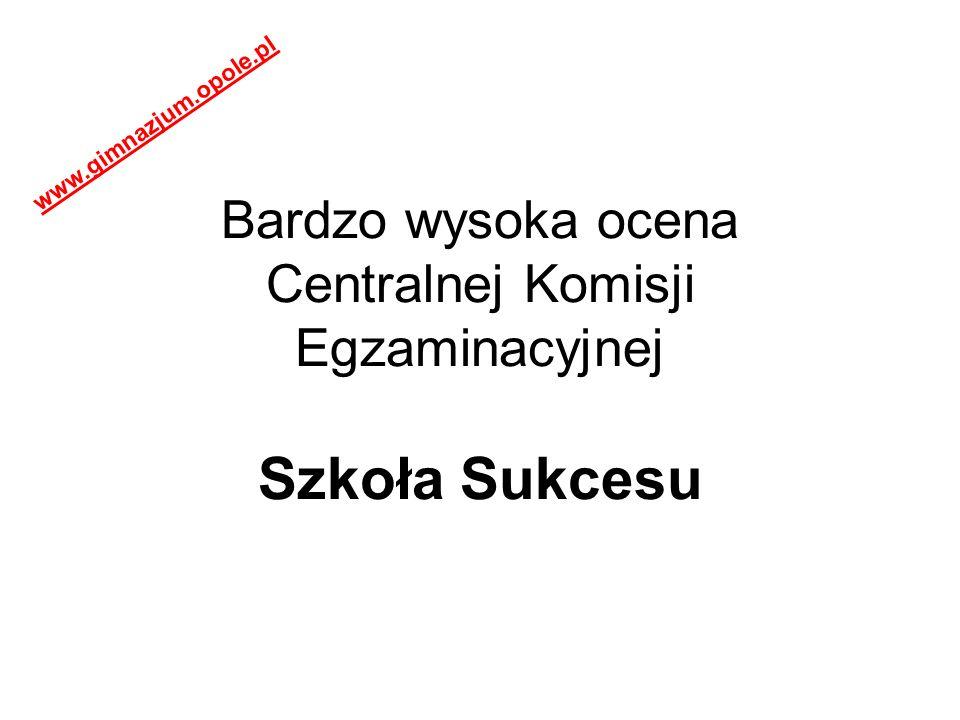 Bardzo wysoka ocena Centralnej Komisji Egzaminacyjnej Szkoła Sukcesu www.gimnazjum.opole.pl