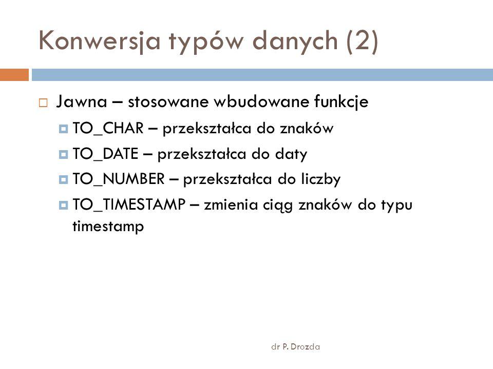 Konwersja typów danych (2) dr P. Drozda Jawna – stosowane wbudowane funkcje TO_CHAR – przekształca do znaków TO_DATE – przekształca do daty TO_NUMBER
