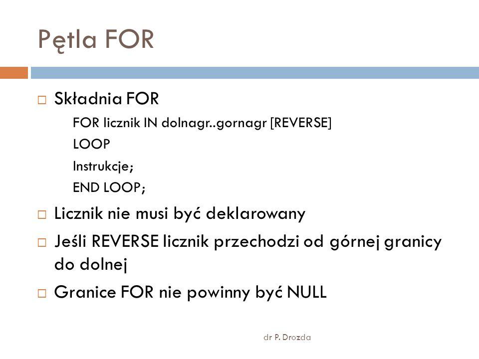 Pętla FOR dr P. Drozda Składnia FOR FOR licznik IN dolnagr..gornagr [REVERSE] LOOP Instrukcje; END LOOP; Licznik nie musi być deklarowany Jeśli REVERS