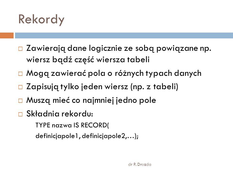 Rekordy dr P. Drozda Zawierają dane logicznie ze sobą powiązane np. wiersz bądź część wiersza tabeli Mogą zawierać pola o różnych typach danych Zapisu