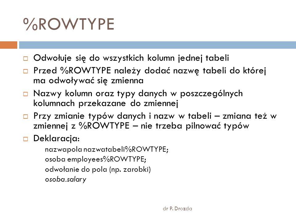%ROWTYPE dr P. Drozda Odwołuje się do wszystkich kolumn jednej tabeli Przed %ROWTYPE należy dodać nazwę tabeli do której ma odwoływać się zmienna Nazw