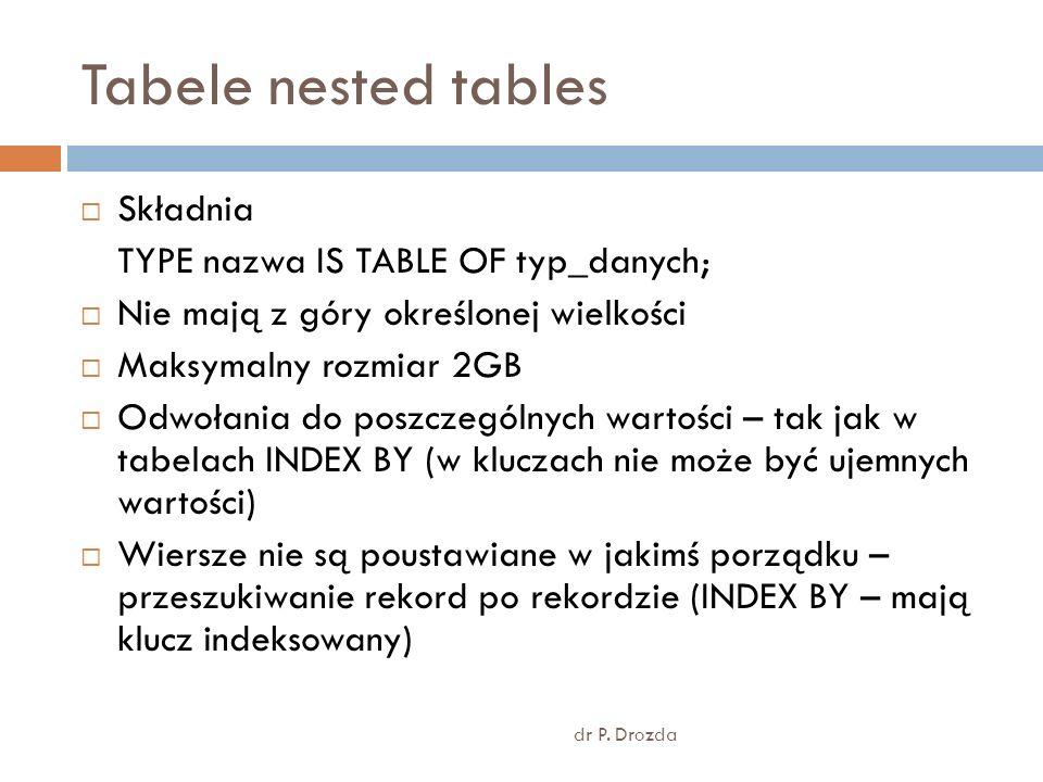 Tabele nested tables dr P. Drozda Składnia TYPE nazwa IS TABLE OF typ_danych; Nie mają z góry określonej wielkości Maksymalny rozmiar 2GB Odwołania do