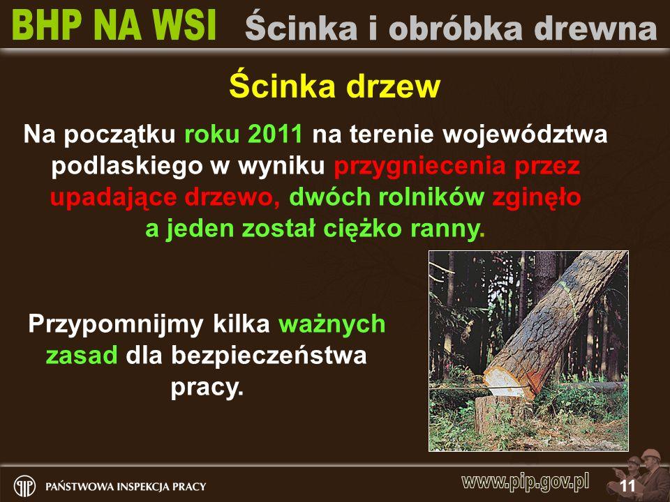 11 Ścinka drzew Na początku roku 2011 na terenie województwa podlaskiego w wyniku przygniecenia przez upadające drzewo, dwóch rolników zginęło a jeden