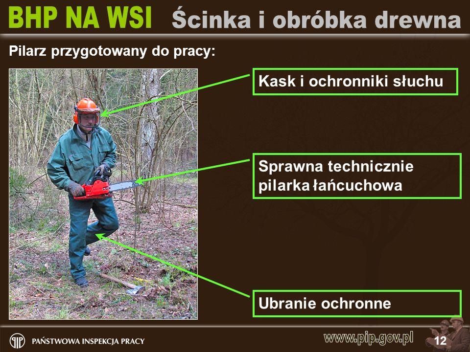 12 Pilarz przygotowany do pracy: Ubranie ochronne Kask i ochronniki słuchu Sprawna technicznie pilarka łańcuchowa
