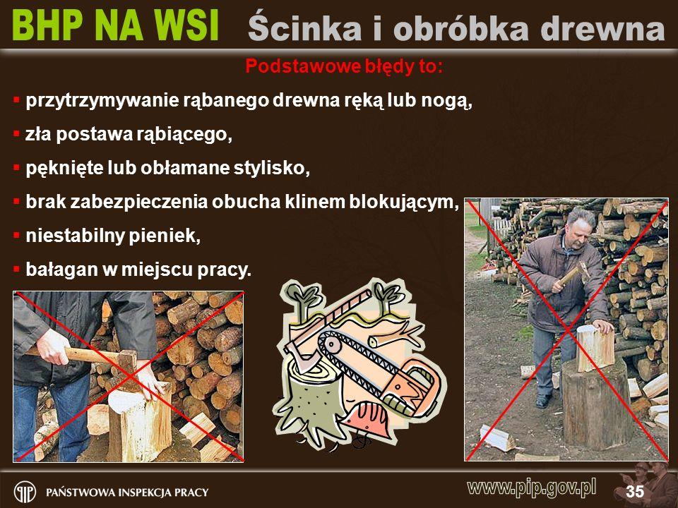 35 Podstawowe błędy to: przytrzymywanie rąbanego drewna ręką lub nogą, zła postawa rąbiącego, pęknięte lub obłamane stylisko, brak zabezpieczenia obuc