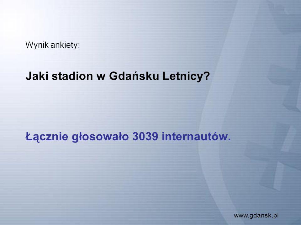 www.gdansk.pl Wynik ankiety: Jaki stadion w Gdańsku Letnicy Łącznie głosowało 3039 internautów.