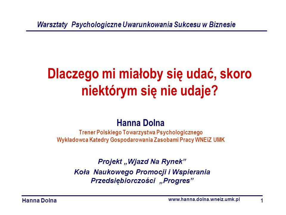 Dlaczego mi miałoby się udać, skoro niektórym się nie udaje? Hanna Dolna Trener Polskiego Towarzystwa Psychologicznego Wykładowca Katedry Gospodarowan