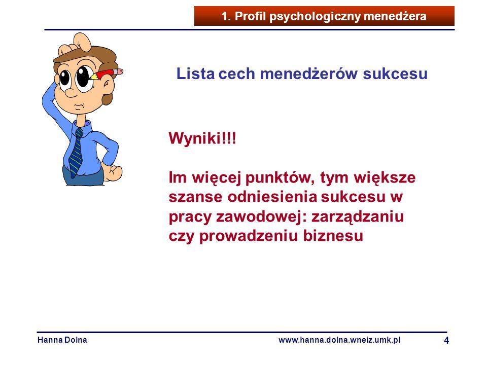 Hanna Dolnawww.hanna.dolna.wneiz.umk.pl 4 1. Profil psychologiczny menedżera Lista cech menedżerów sukcesu Wyniki!!! Im więcej punktów, tym większe sz