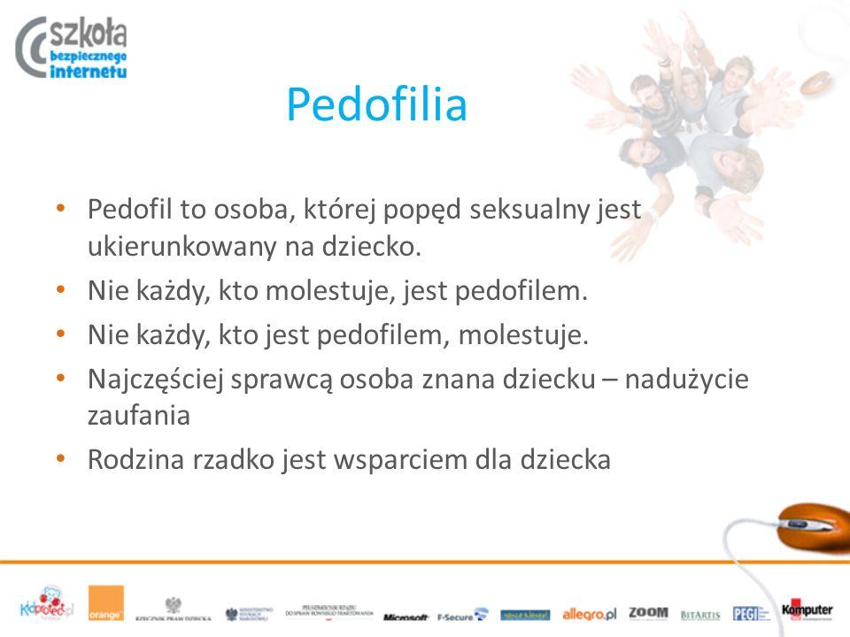 Pedofilia Pedofil to osoba, której popęd seksualny jest ukierunkowany na dziecko.