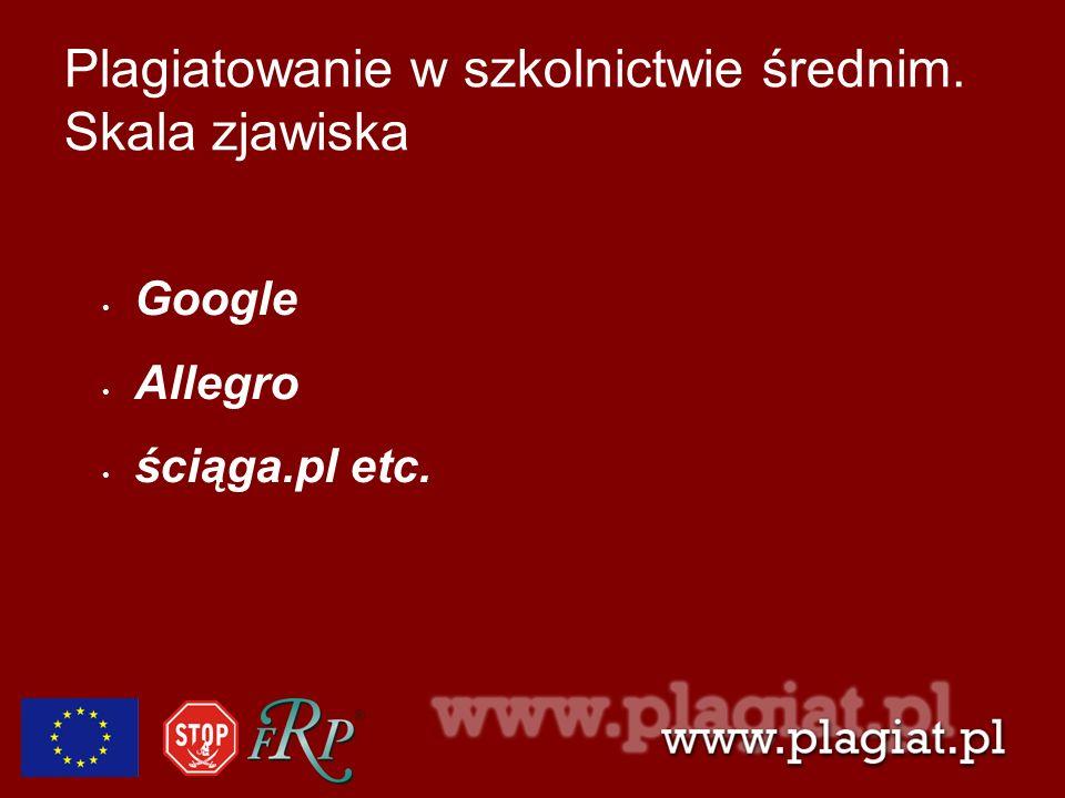 Plagiatowanie w szkolnictwie średnim. Skala zjawiska Google Allegro ściąga.pl etc.