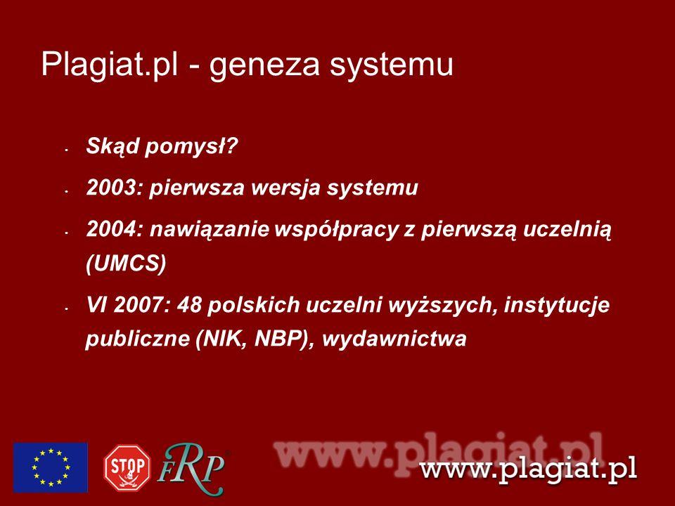 Plagiat.pl - geneza systemu Skąd pomysł? 2003: pierwsza wersja systemu 2004: nawiązanie współpracy z pierwszą uczelnią (UMCS) VI 2007: 48 polskich ucz