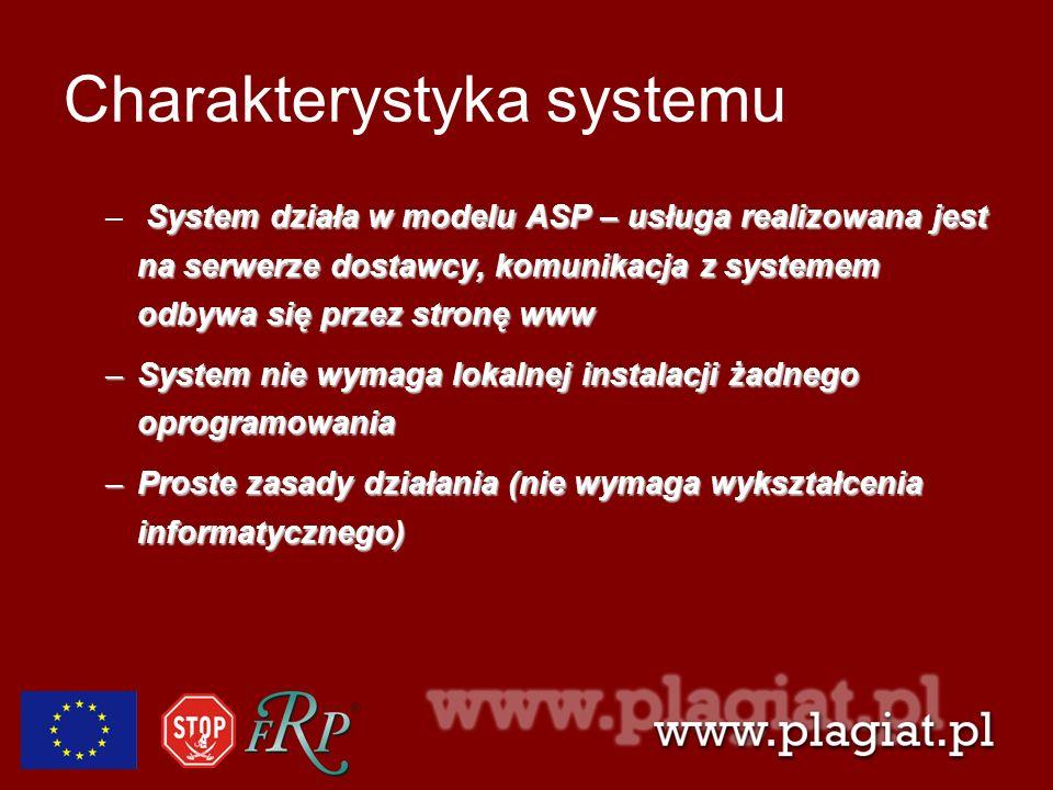 Charakterystyka systemu System działa w modelu ASP – usługa realizowana jest na serwerze dostawcy, komunikacja z systemem odbywa się przez stronę www