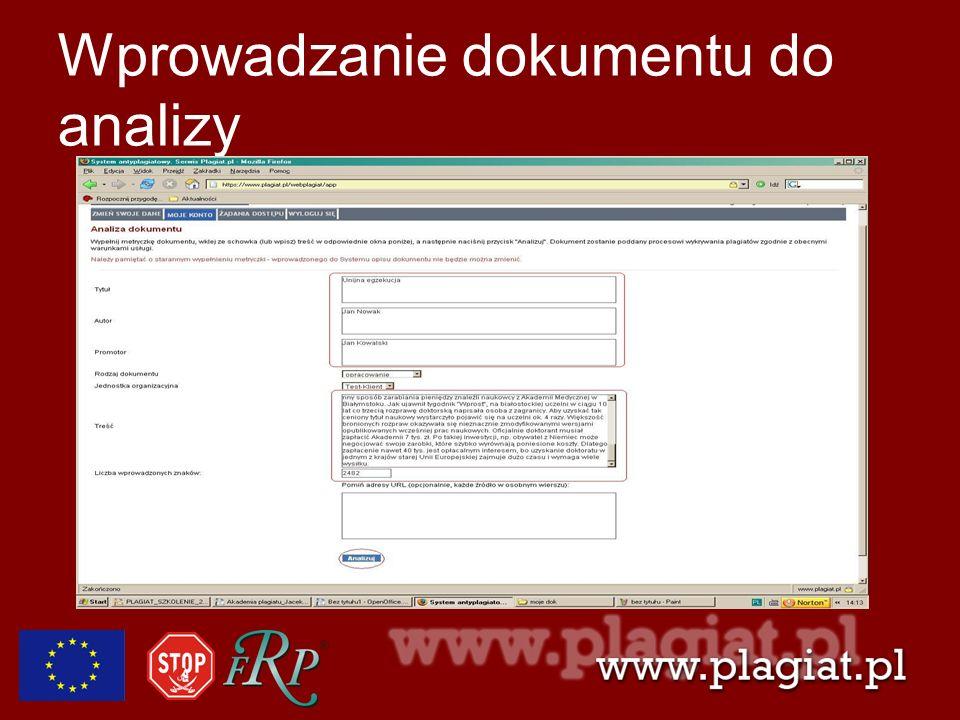 Wprowadzanie dokumentu do analizy