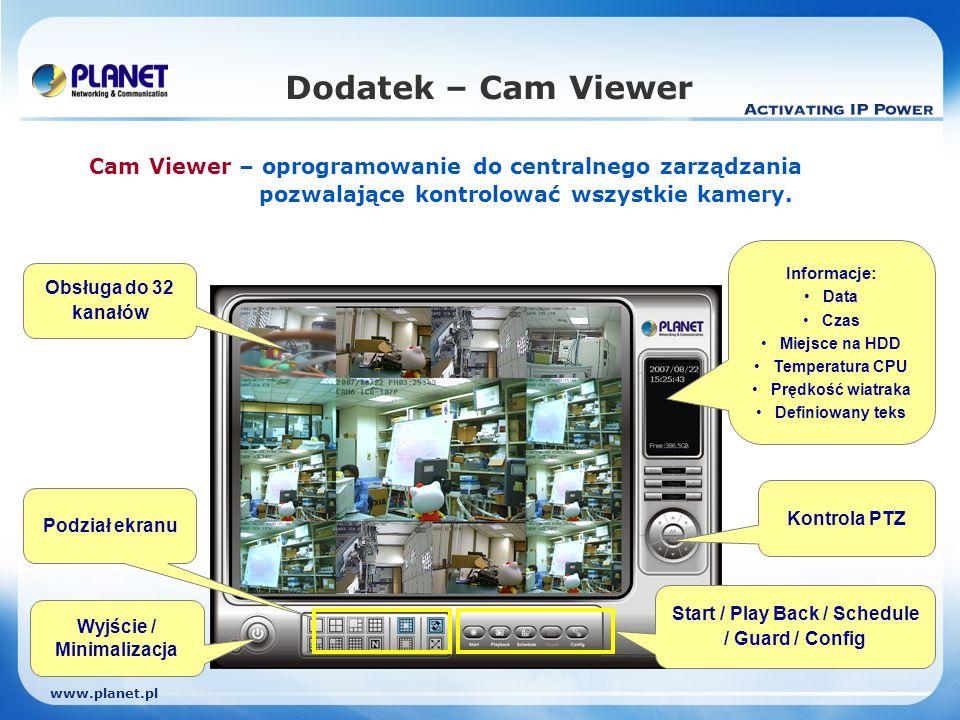 www.planet.pl Dodatek – Cam Viewer Cam Viewer – oprogramowanie do centralnego zarządzania pozwalające kontrolować wszystkie kamery.