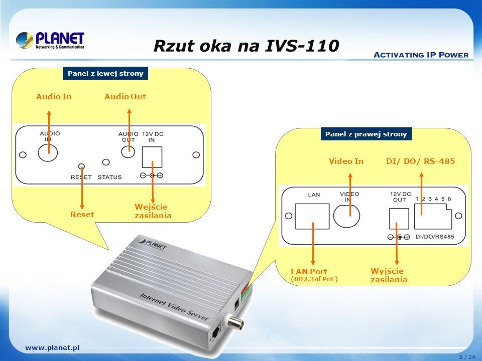 www.planet.pl 3 / 24 Rzut oka na IVS-110 Audio In Reset Wejście zasilania Panel z lewej strony Audio Out Panel z prawej strony Video In LAN Port (802.3af PoE) Wyjście zasilania DI/ DO/ RS-485