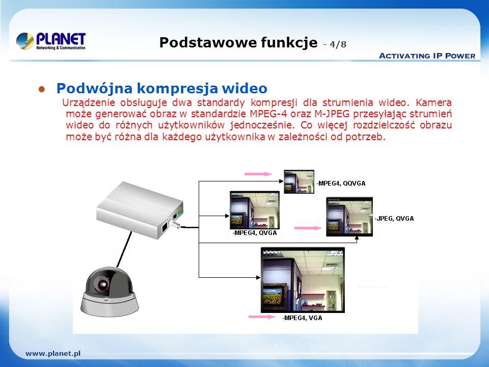 www.planet.pl Podstawowe funkcje - 4/8 Podwójna kompresja wideo Urządzenie obsługuje dwa standardy kompresji dla strumienia wideo.