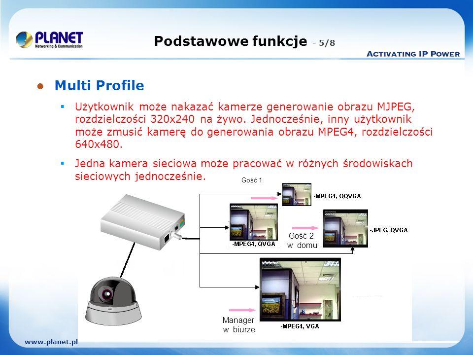 www.planet.pl Multi Profile Użytkownik może nakazać kamerze generowanie obrazu MJPEG, rozdzielczości 320x240 na żywo.