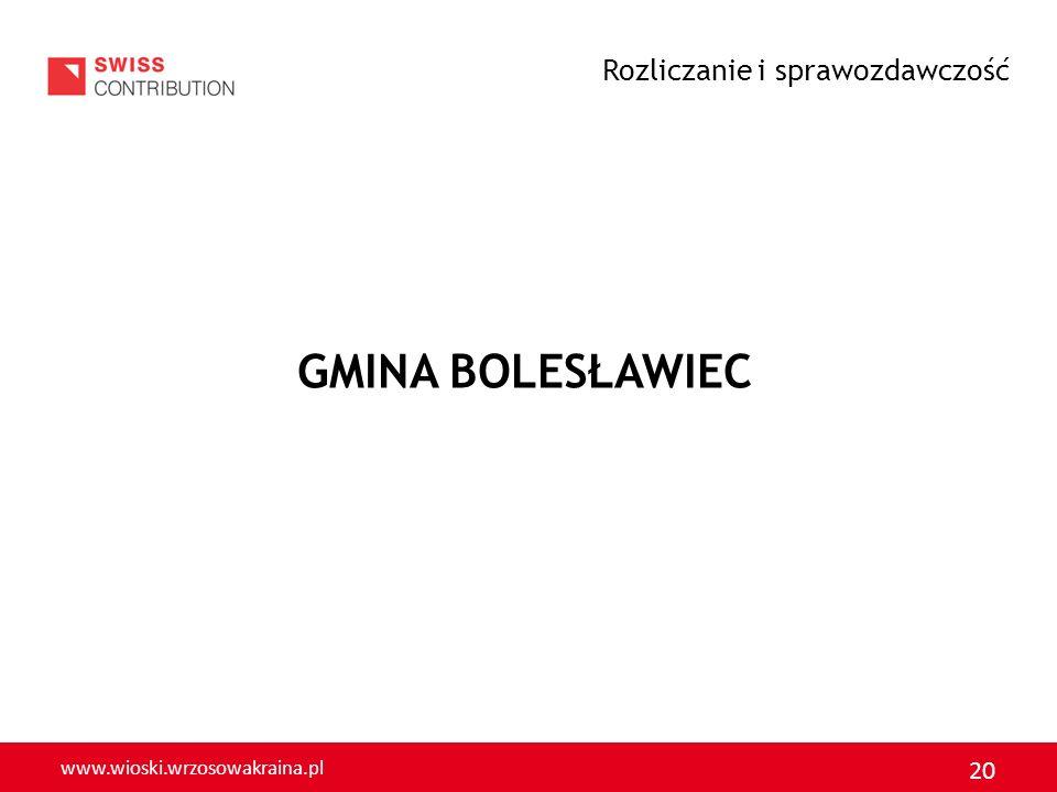 www.wioski.wrzosowakraina.pl 20 GMINA BOLESŁAWIEC Rozliczanie i sprawozdawczość