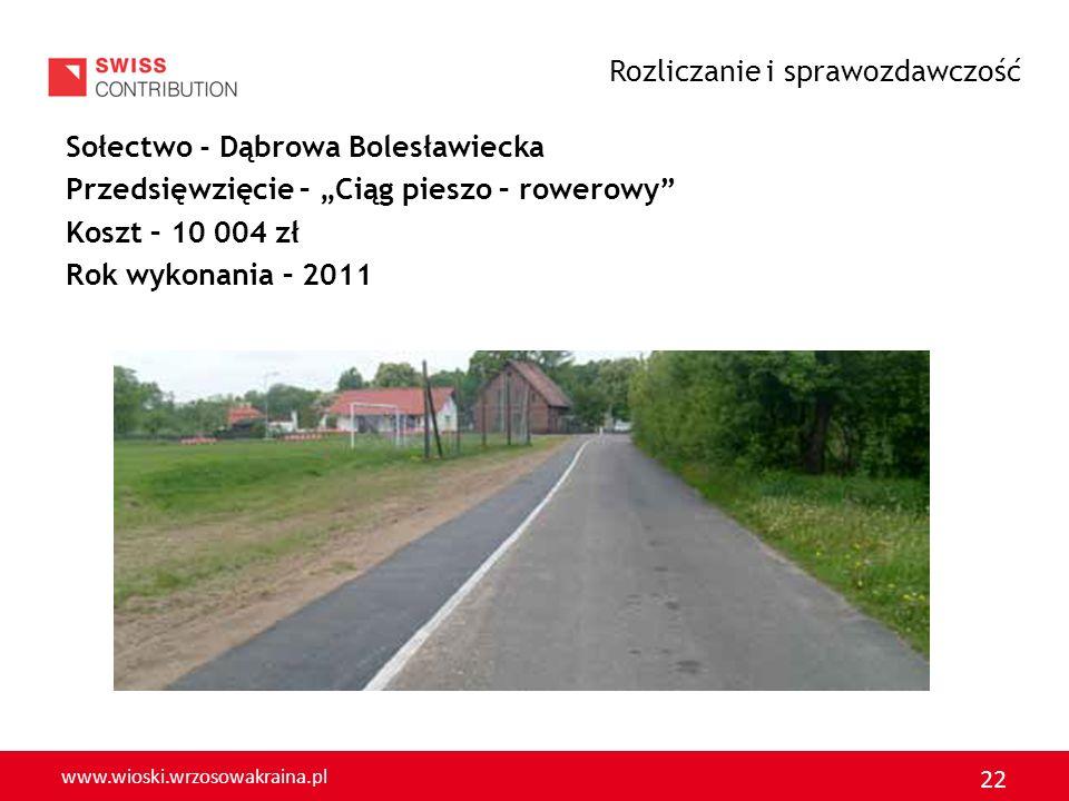 www.wioski.wrzosowakraina.pl 22 Sołectwo - Dąbrowa Bolesławiecka Przedsięwzięcie – Ciąg pieszo – rowerowy Koszt – 10 004 zł Rok wykonania – 2011 Rozli