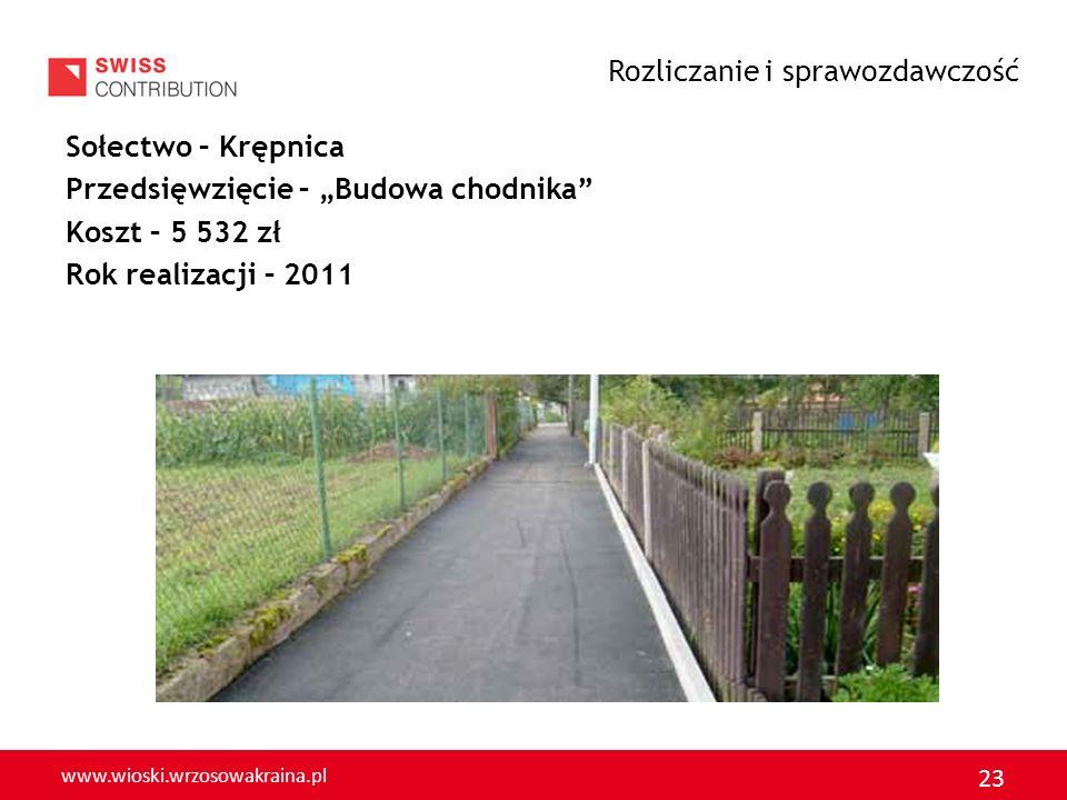 www.wioski.wrzosowakraina.pl 23 Sołectwo – Krępnica Przedsięwzięcie – Budowa chodnika Koszt – 5 532 zł Rok realizacji – 2011 Rozliczanie i sprawozdawc