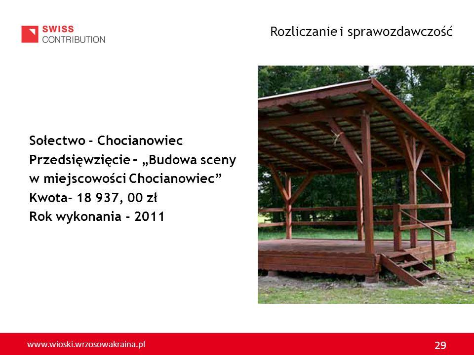www.wioski.wrzosowakraina.pl 29 Sołectwo - Chocianowiec Przedsięwzięcie – Budowa sceny w miejscowości Chocianowiec Kwota- 18 937, 00 zł Rok wykonania