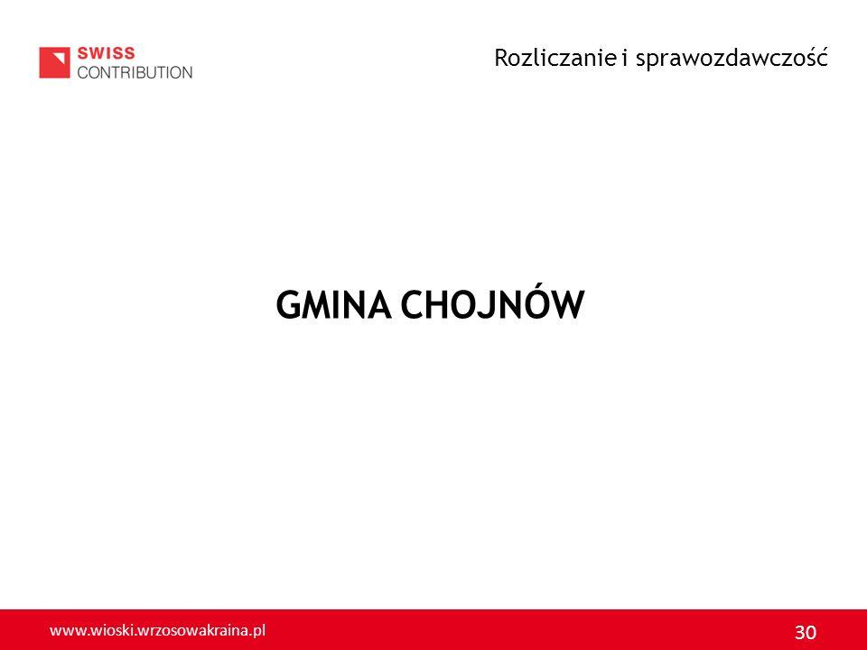 www.wioski.wrzosowakraina.pl 30 GMINA CHOJNÓW Rozliczanie i sprawozdawczość