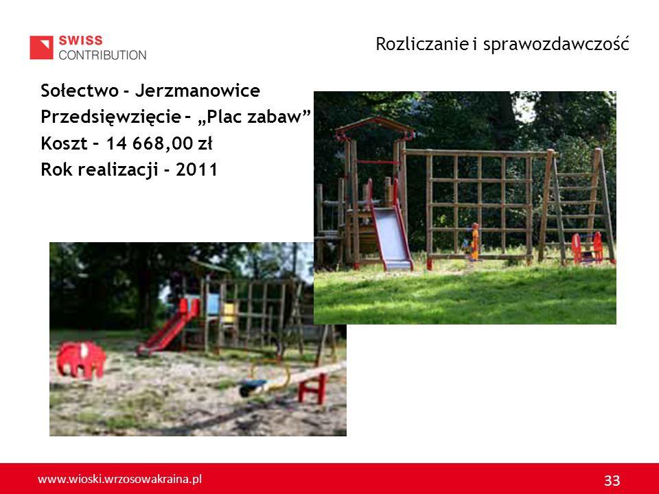 www.wioski.wrzosowakraina.pl 33 Sołectwo - Jerzmanowice Przedsięwzięcie – Plac zabaw Koszt – 14 668,00 zł Rok realizacji - 2011 Rozliczanie i sprawozd