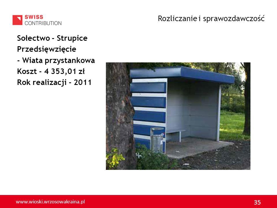 www.wioski.wrzosowakraina.pl 35 Sołectwo - Strupice Przedsięwzięcie - Wiata przystankowa Koszt - 4 353,01 zł Rok realizacji - 2011 Rozliczanie i spraw