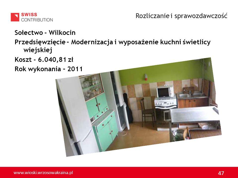www.wioski.wrzosowakraina.pl 47 Sołectwo - Wilkocin Przedsięwzięcie – Modernizacja i wyposażenie kuchni świetlicy wiejskiej Koszt - 6.040,81 zł Rok wy