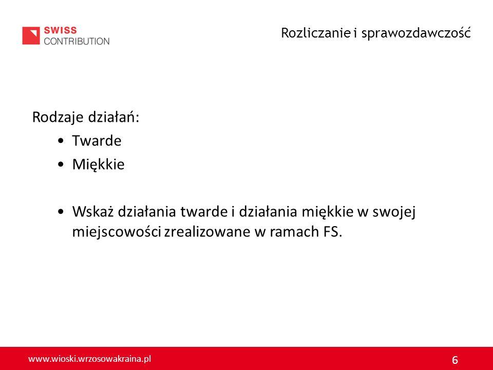www.wioski.wrzosowakraina.pl 6 Rodzaje działań: Twarde Miękkie Wskaż działania twarde i działania miękkie w swojej miejscowości zrealizowane w ramach