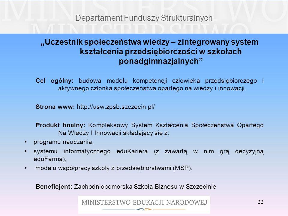 22 Departament Funduszy Strukturalnych Uczestnik społeczeństwa wiedzy – zintegrowany system kształcenia przedsiębiorczości w szkołach ponadgimnazjalny