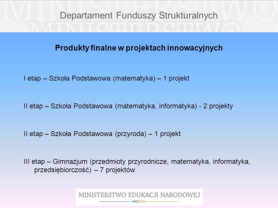 Departament Funduszy Strukturalnych Produkty finalne w projektach innowacyjnych I etap – Szkoła Podstawowa (matematyka) – 1 projekt II etap – Szkoła P
