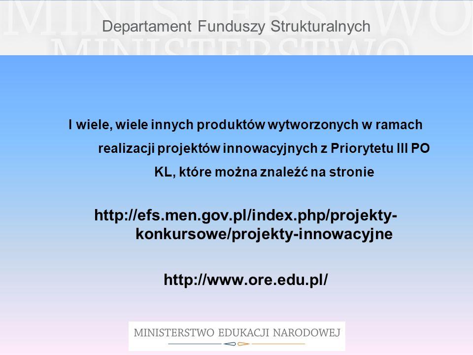 Departament Funduszy Strukturalnych I wiele, wiele innych produktów wytworzonych w ramach realizacji projektów innowacyjnych z Priorytetu III PO KL, k
