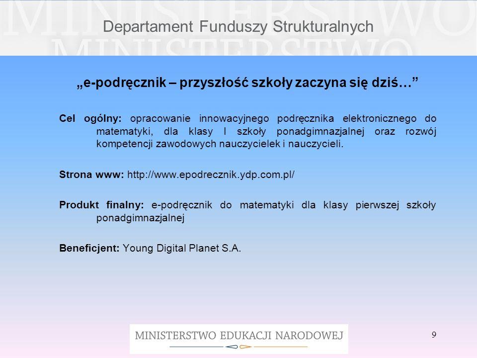 Departament Funduszy Strukturalnych I wiele, wiele innych produktów wytworzonych w ramach realizacji projektów innowacyjnych z Priorytetu III PO KL, które można znaleźć na stronie http://efs.men.gov.pl/index.php/projekty- konkursowe/projekty-innowacyjne http://www.ore.edu.pl/