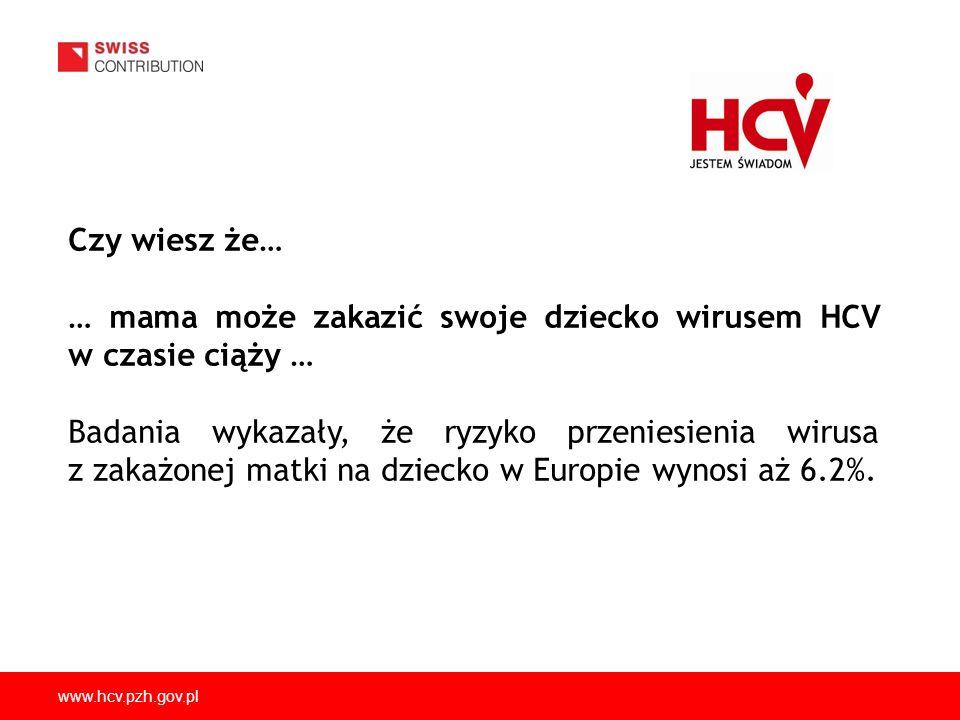 www.hcv.pzh.gov.pl Czy wiesz że… … mama może zakazić swoje dziecko wirusem HCV w czasie ciąży … Badania wykazały, że ryzyko przeniesienia wirusa z zak