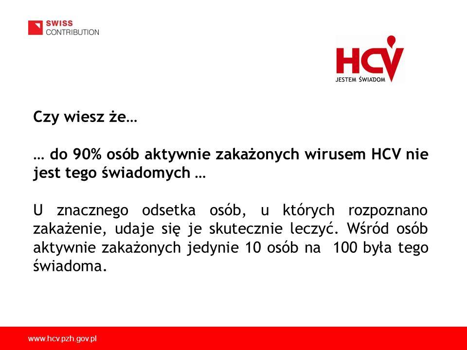 www.hcv.pzh.gov.pl Czy wiesz że… … do 90% osób aktywnie zakażonych wirusem HCV nie jest tego świadomych … U znacznego odsetka osób, u których rozpozna