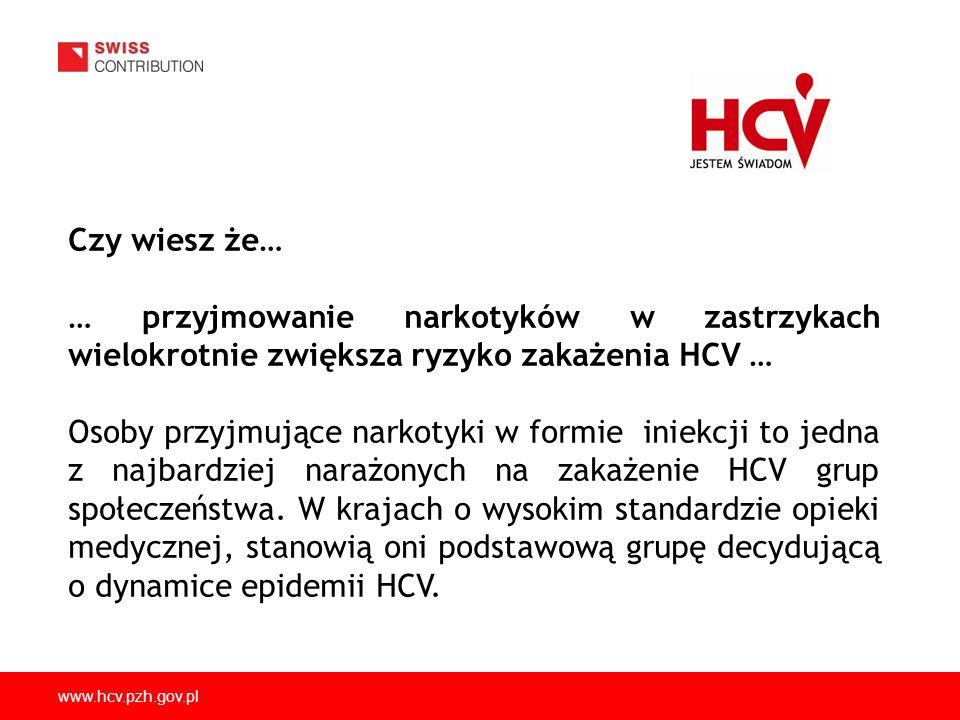 www.hcv.pzh.gov.pl Czy wiesz że… … przyjmowanie narkotyków w zastrzykach wielokrotnie zwiększa ryzyko zakażenia HCV … Osoby przyjmujące narkotyki w fo