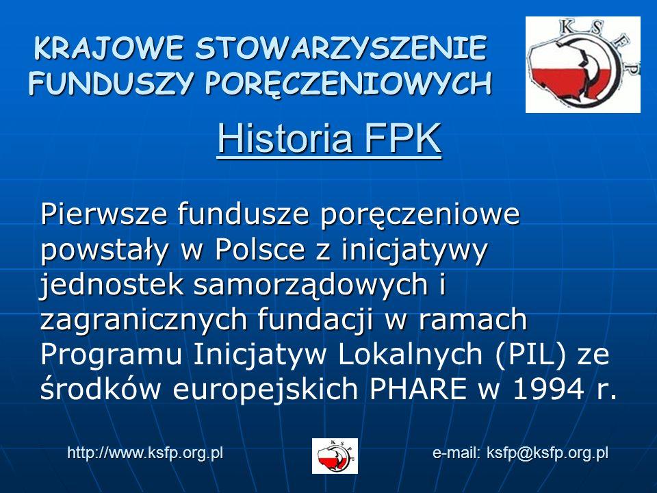 Historia FPK Pierwsze fundusze poręczeniowe powstały w Polsce z inicjatywy jednostek samorządowych i zagranicznych fundacji w ramach Pierwsze fundusze poręczeniowe powstały w Polsce z inicjatywy jednostek samorządowych i zagranicznych fundacji w ramach Programu Inicjatyw Lokalnych (PIL) ze środków europejskich PHARE w 1994 r.