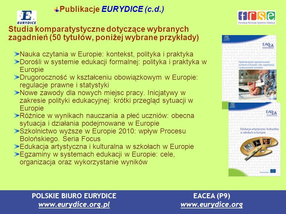 POLSKIE BIURO EURYDICE www.eurydice.org.pl EACEA (P9) www.eurydice.org Publikacje EURYDICE (c.d.) Studia komparatystyczne dotyczące wybranych zagadnie