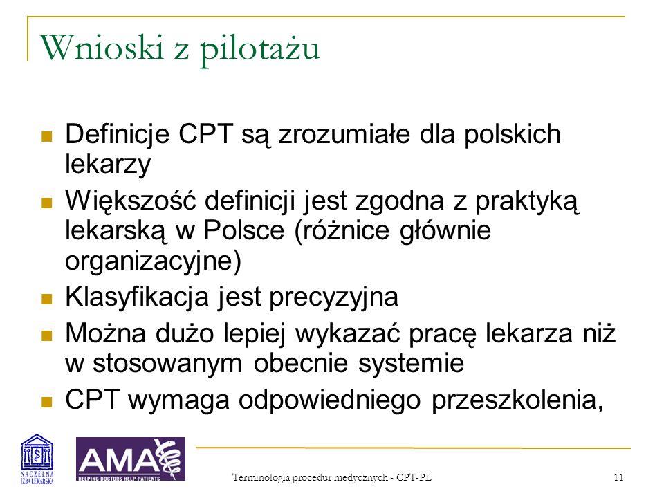 Terminologia procedur medycznych - CPT-PL 12 Zasady wykorzystania CPT-PL Podobne jak CPT w USA AMA jest właścicielem CPT i tłumaczeń Płatnik publiczny i instytucje publiczne korzystają z zestawu kodów do użytku wewnętrznego na podstawie bezpłatnej ograniczonej licencji Używanie CPT-PL zawsze wymaga licencji Równolegle do CPT-PL muszą być stosowane inne klasyfikacje – np.