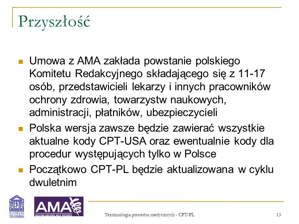 Terminologia procedur medycznych - CPT-PL 14 CPT 2005 Professional Wersja Professional zawiera dużo szczegółowych opisów dotyczących zasad kodowania i opisów procedur, jest bardziej zrozumiała dla osób nieznających CPT Dla lekarzy większość wyjaśnień jest dość oczywista, ale kodowanie w większości sytuacji wykonywane jest przez personel pomocniczy (zasadnicze znaczenie ma dokumentacja) W USA istnieje oddzielny zawód kodujących