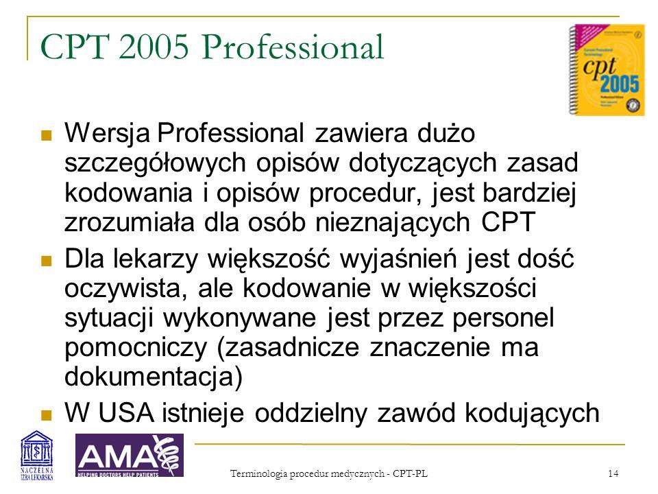 Terminologia procedur medycznych - CPT-PL 15 Wersja robocza W wersji oryginalnej, pomimo 40 lat pracy bardzo dużych zespołów, nadal są (pojedyncze) błędy W polskiej wersji roboczej, pomimo 18 miesięcy pracy małej grupy, nadal są (..................) błędy Nie jest gotowy indeks Prosimy o zgłaszanie uwag dotyczących terminologii oraz zauważonych błędów - (cpt@hipokrates.org)