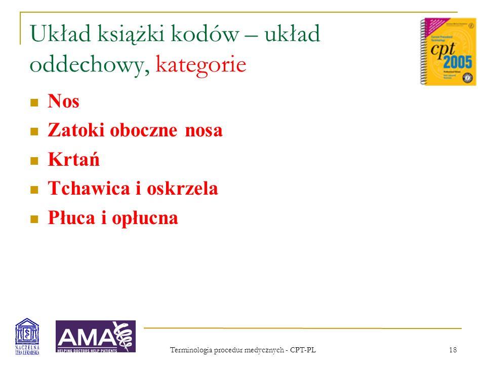 Terminologia procedur medycznych - CPT-PL 18 Układ książki kodów – układ oddechowy, kategorie Nos Zatoki oboczne nosa Krtań Tchawica i oskrzela Płuca