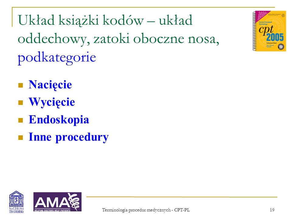 Terminologia procedur medycznych - CPT-PL 20 Układ książki kodów – radiologia, działy Diagnostyka radiologiczna (Obrazowanie radiologiczne) Diagnostyka ultrasonograficzna Radioterapia w onkologii Medycyna nuklearna